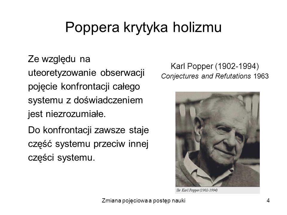 Zmiana pojęciowa a postęp nauki4 Poppera krytyka holizmu Ze względu na uteoretyzowanie obserwacji pojęcie konfrontacji całego systemu z doświadczeniem