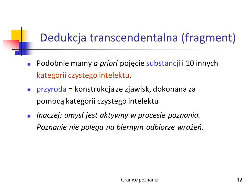 Granice poznania12 Dedukcja transcendentalna (fragment) Podobnie mamy a priori pojęcie substancji i 10 innych kategorii czystego intelektu. przyroda =