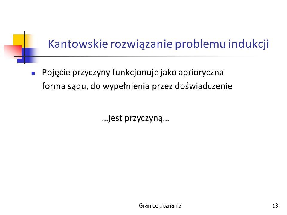 Granice poznania13 Kantowskie rozwiązanie problemu indukcji Pojęcie przyczyny funkcjonuje jako aprioryczna forma sądu, do wypełnienia przez doświadczenie …jest przyczyną…