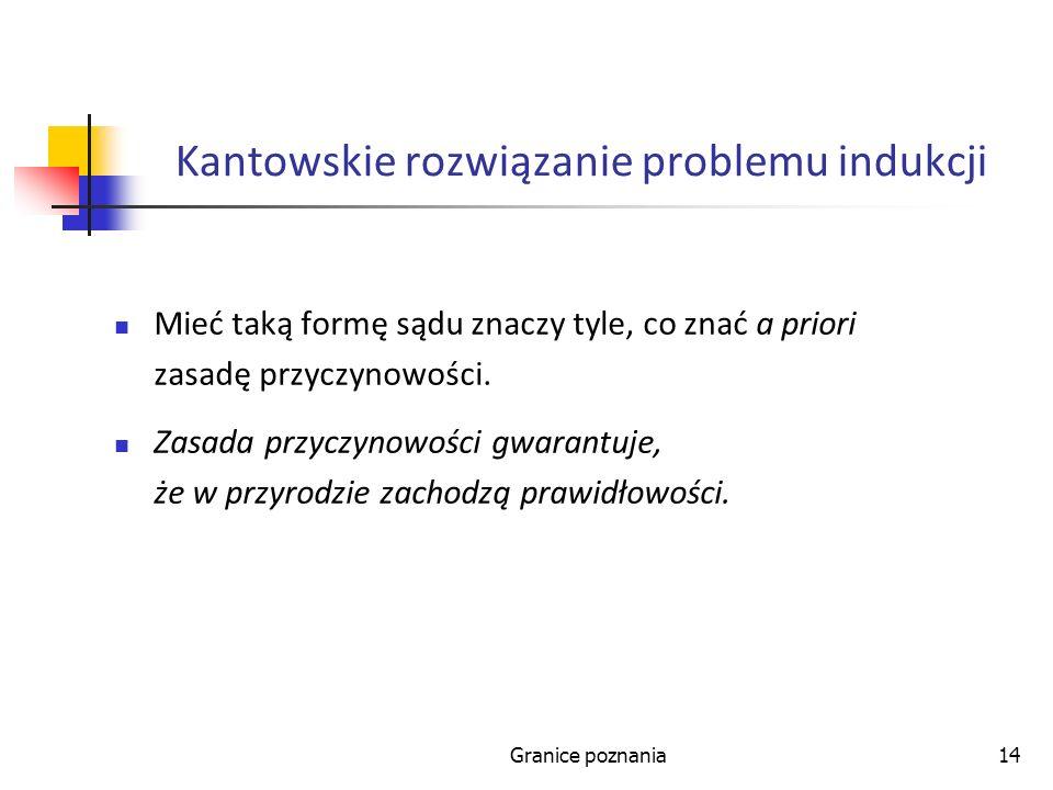 Granice poznania14 Kantowskie rozwiązanie problemu indukcji Mieć taką formę sądu znaczy tyle, co znać a priori zasadę przyczynowości. Zasada przyczyno