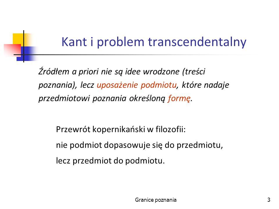 Granice poznania3 Kant i problem transcendentalny Źródłem a priori nie są idee wrodzone (treści poznania), lecz uposażenie podmiotu, które nadaje przedmiotowi poznania określoną formę.