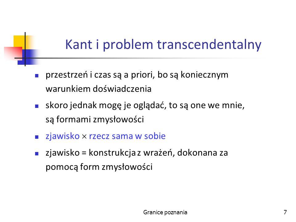 Granice poznania7 Kant i problem transcendentalny przestrzeń i czas są a priori, bo są koniecznym warunkiem doświadczenia skoro jednak mogę je oglądać