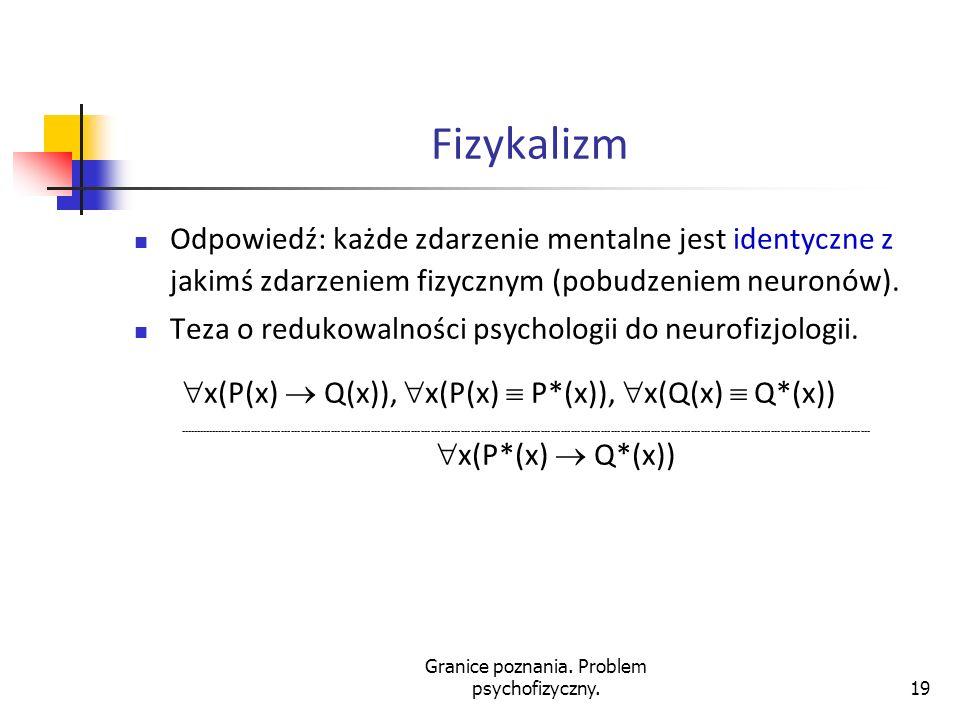 Granice poznania. Problem psychofizyczny.19 Fizykalizm Odpowiedź: każde zdarzenie mentalne jest identyczne z jakimś zdarzeniem fizycznym (pobudzeniem