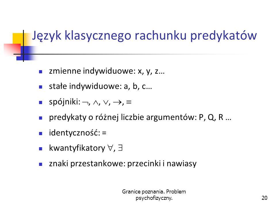 Granice poznania. Problem psychofizyczny.20 Język klasycznego rachunku predykatów zmienne indywiduowe: x, y, z… stałe indywiduowe: a, b, c… spójniki:,