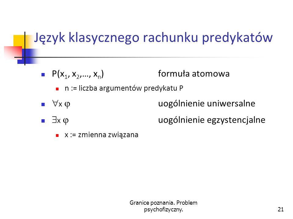 Granice poznania. Problem psychofizyczny.21 Język klasycznego rachunku predykatów P(x 1, x 2,…, x n ) formuła atomowa n := liczba argumentów predykatu
