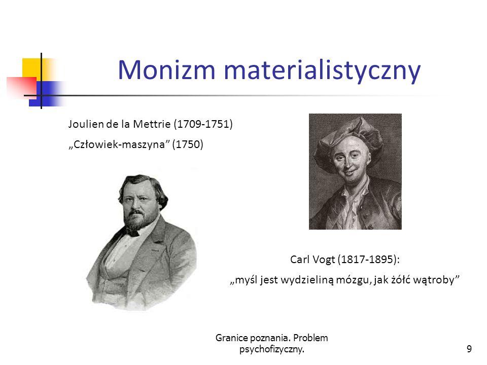 Granice poznania. Problem psychofizyczny.9 Monizm materialistyczny Joulien de la Mettrie (1709-1751) Człowiek-maszyna (1750) Carl Vogt (1817-1895): my