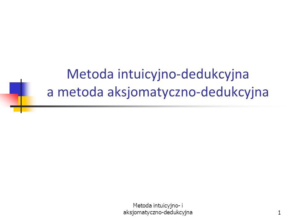 Metoda intuicyjno- i aksjomatyczno-dedukcyjna12 Logika jako system aksjomatyczno-dedukcyjny Reguły wnioskowania muszą być na tyle proste, żeby było bardzo łatwo sprawdzić, czy nie zostały one naruszone.