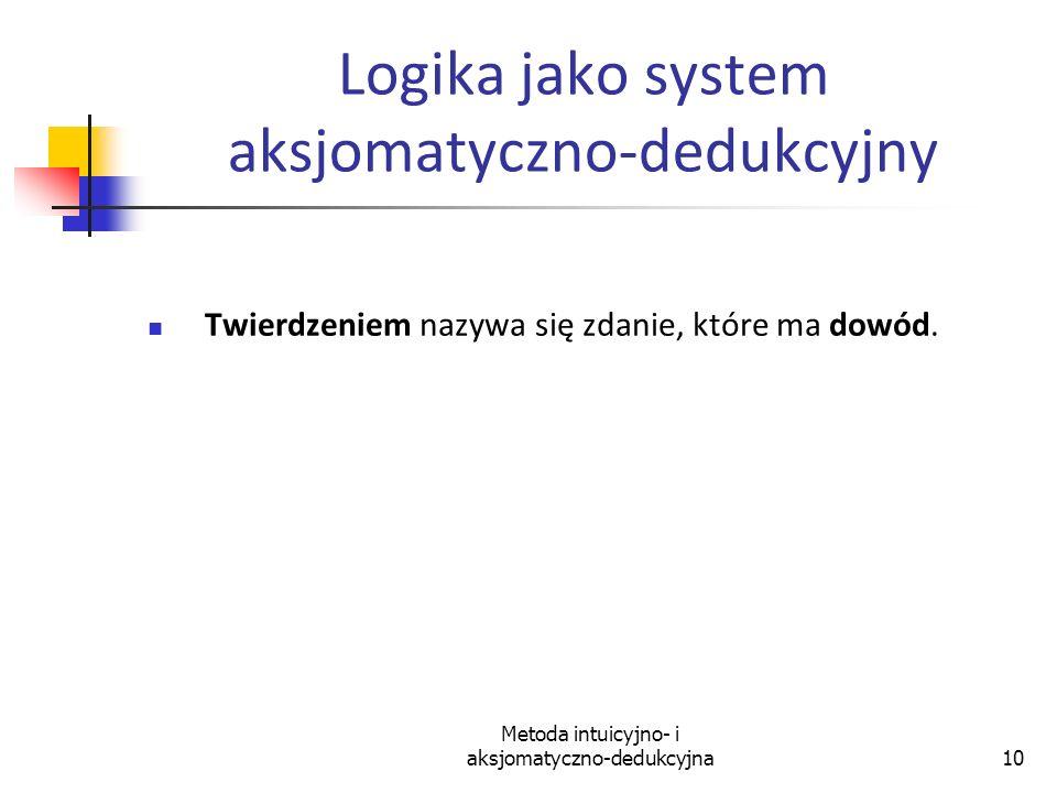 Metoda intuicyjno- i aksjomatyczno-dedukcyjna10 Logika jako system aksjomatyczno-dedukcyjny Twierdzeniem nazywa się zdanie, które ma dowód.