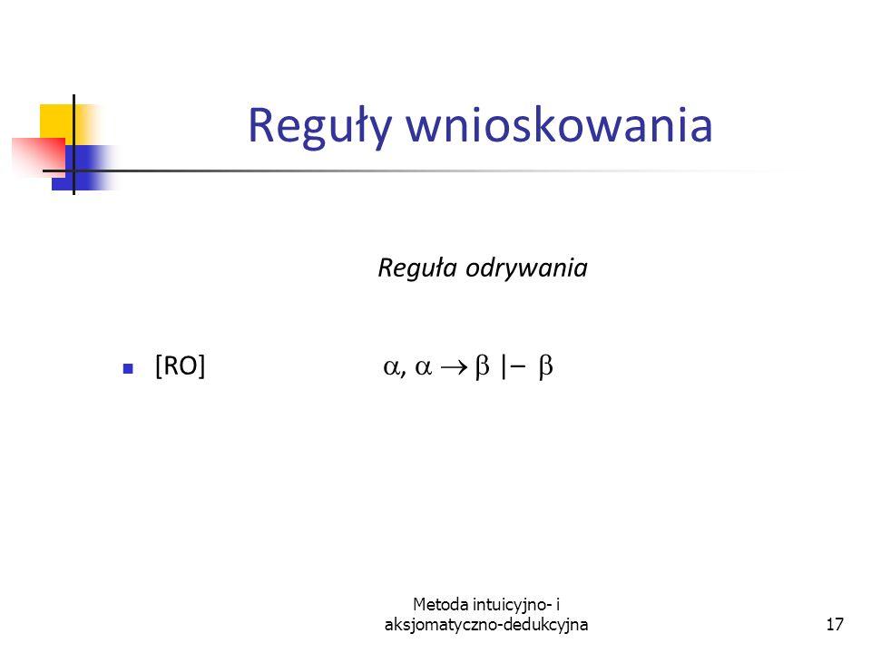 Metoda intuicyjno- i aksjomatyczno-dedukcyjna17 Reguły wnioskowania Reguła odrywania [RO],  –