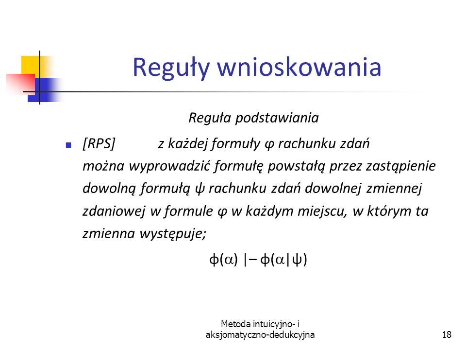Metoda intuicyjno- i aksjomatyczno-dedukcyjna18 Reguły wnioskowania Reguła podstawiania [RPS]z każdej formuły φ rachunku zdań można wyprowadzić formuł