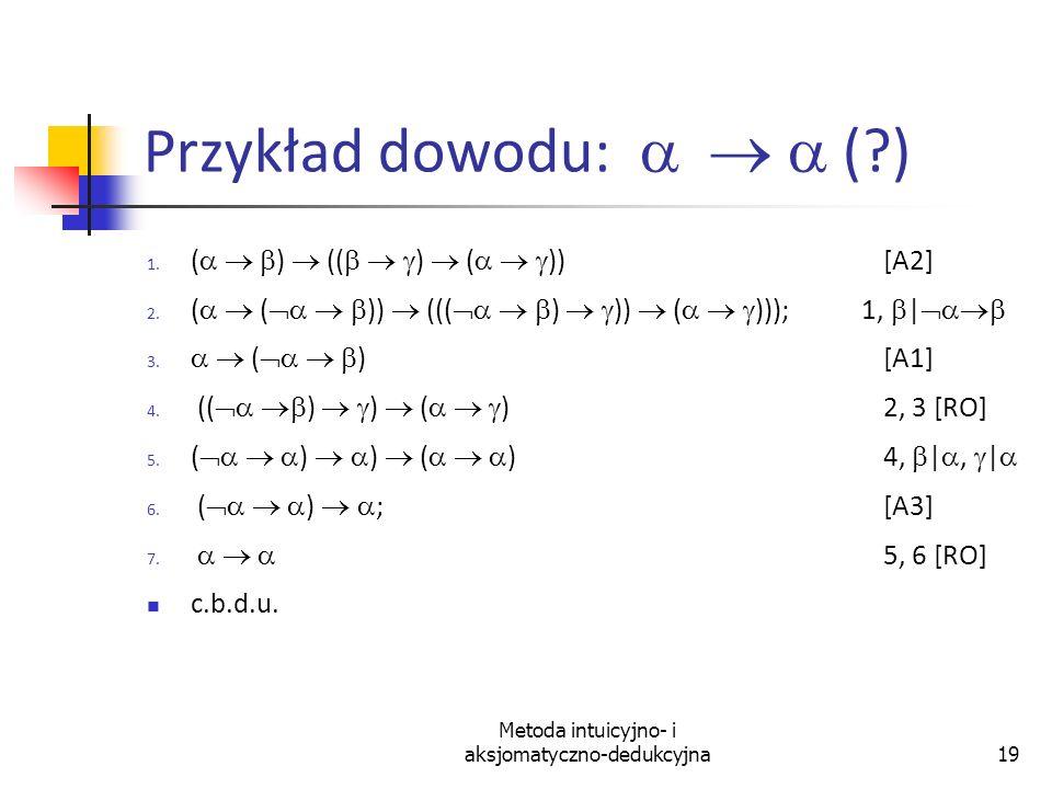 Metoda intuicyjno- i aksjomatyczno-dedukcyjna19 Przykład dowodu: (?) 1. ( ) (( ) ( )) [A2] 2. ( ( )) ((( ) )) ( ))); 1,   3. ( )[A1] 4. (( ) ) ( ) 2,