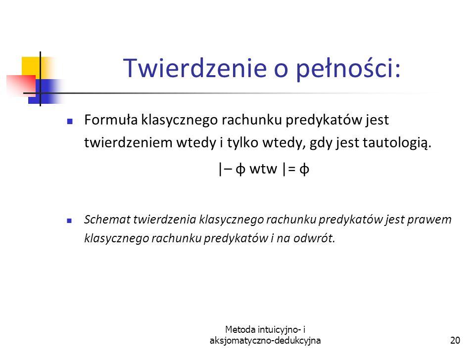 Metoda intuicyjno- i aksjomatyczno-dedukcyjna20 Twierdzenie o pełności: Formuła klasycznego rachunku predykatów jest twierdzeniem wtedy i tylko wtedy,