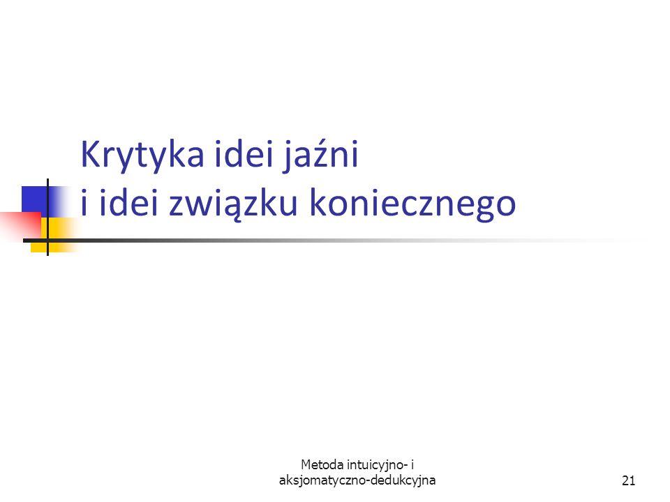 Metoda intuicyjno- i aksjomatyczno-dedukcyjna21 Krytyka idei jaźni i idei związku koniecznego