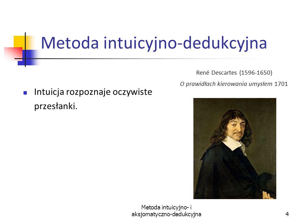 Metoda intuicyjno- i aksjomatyczno-dedukcyjna15 Aksjomaty klasycznego rachunku zdań [A1] ( ); prawo Dunsa Scota [A2] ( ) (( ) ( )); prawo sylogizmu warunkowego [A3]( ) ( ); [A4] ( ) ; prawo redukcji do absurdu