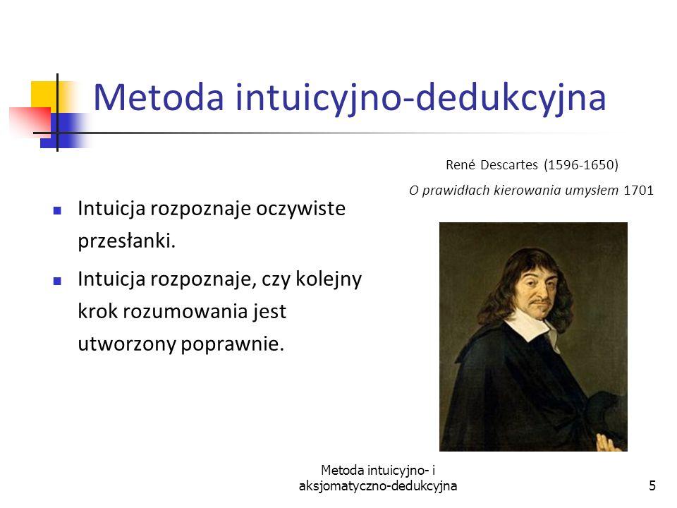 Metoda intuicyjno- i aksjomatyczno-dedukcyjna5 Metoda intuicyjno-dedukcyjna Intuicja rozpoznaje oczywiste przesłanki. Intuicja rozpoznaje, czy kolejny