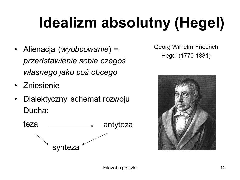 Filozofia polityki12 Idealizm absolutny (Hegel) Alienacja (wyobcowanie) = przedstawienie sobie czegoś własnego jako coś obcego Zniesienie Dialektyczny