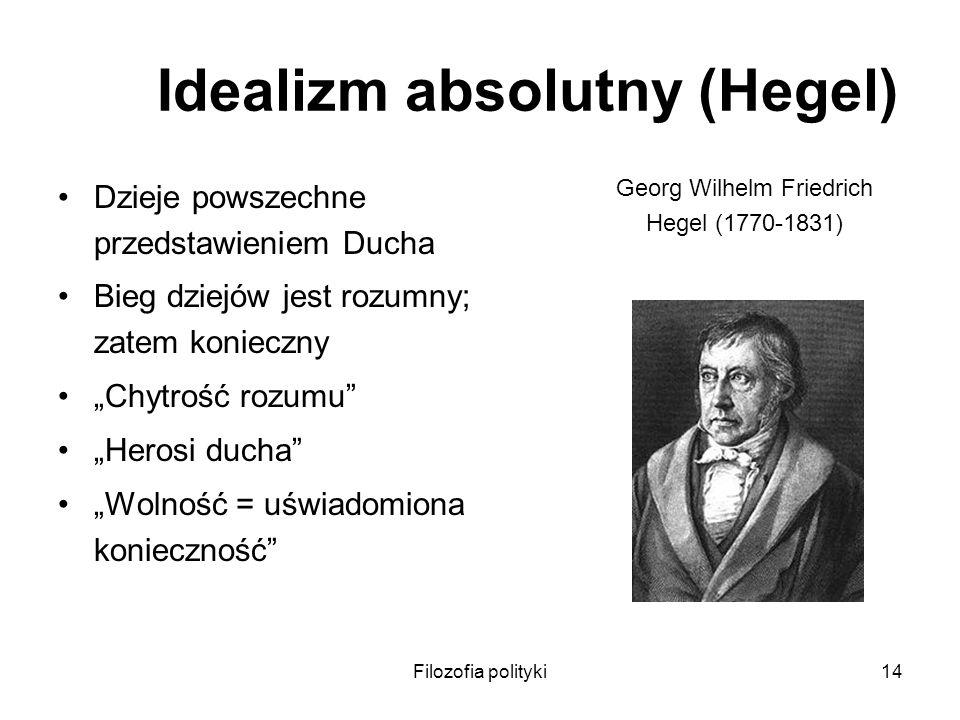 Filozofia polityki14 Idealizm absolutny (Hegel) Dzieje powszechne przedstawieniem Ducha Bieg dziejów jest rozumny; zatem konieczny Chytrość rozumu Her