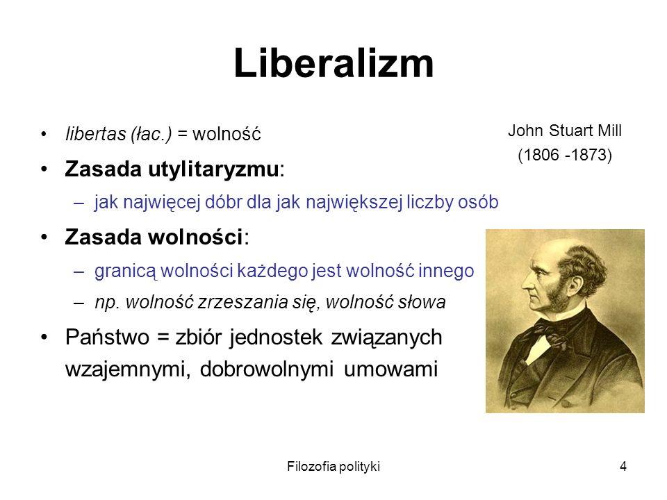 Filozofia polityki4 Liberalizm libertas (łac.) = wolność Zasada utylitaryzmu: –jak najwięcej dóbr dla jak największej liczby osób Zasada wolności: –gr
