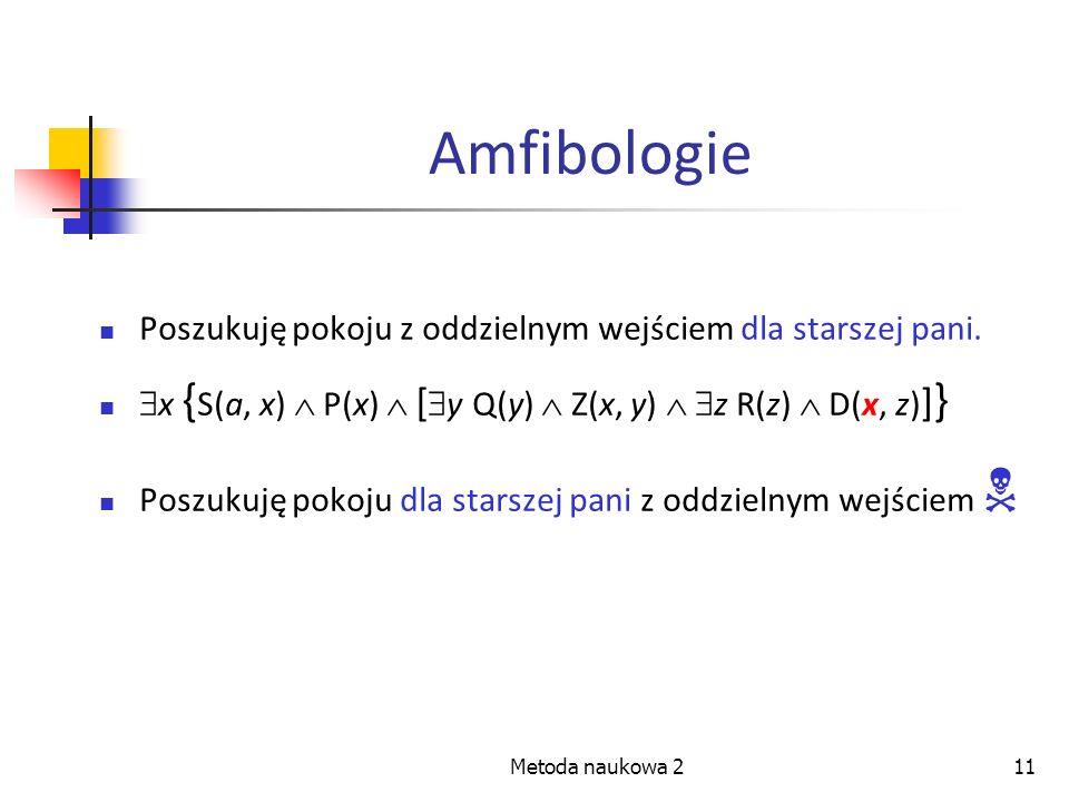 Metoda naukowa 211 Amfibologie Poszukuję pokoju z oddzielnym wejściem dla starszej pani. x { S(a, x) P(x) [ y Q(y) Z(x, y) z R(z) D(x, z) ] } Poszukuj