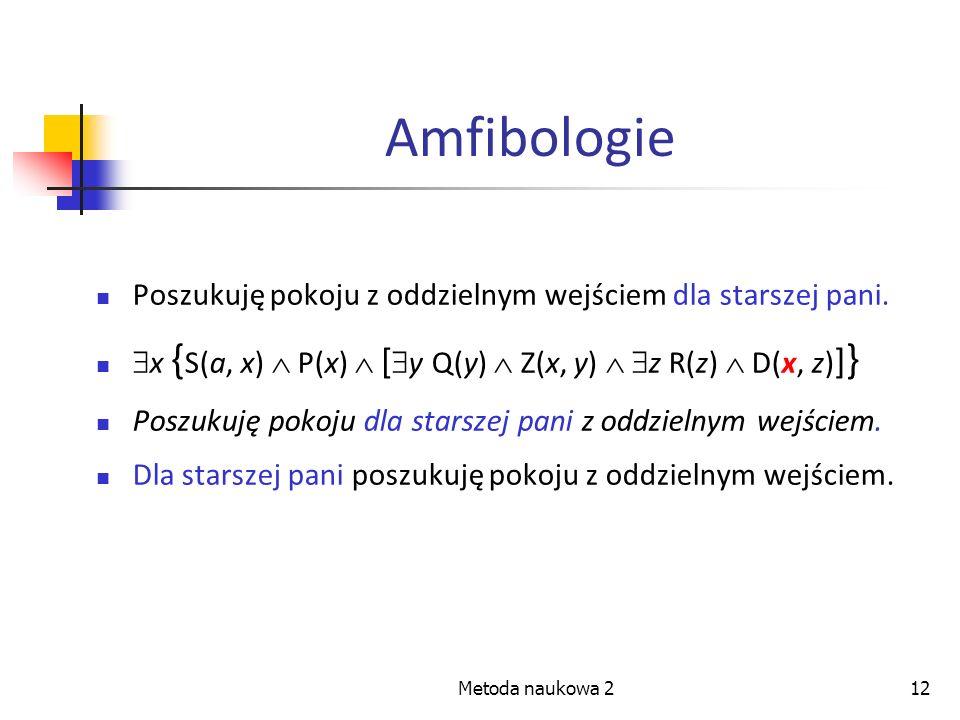 Metoda naukowa 212 Amfibologie Poszukuję pokoju z oddzielnym wejściem dla starszej pani. x { S(a, x) P(x) [ y Q(y) Z(x, y) z R(z) D(x, z) ] } Poszukuj