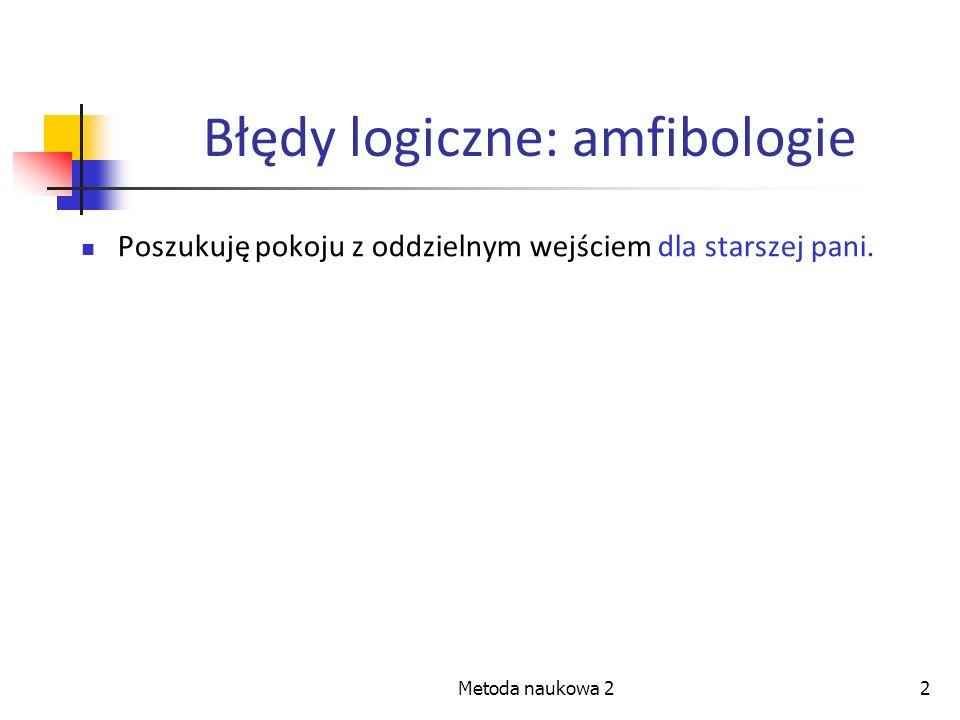 2 Błędy logiczne: amfibologie Poszukuję pokoju z oddzielnym wejściem dla starszej pani.