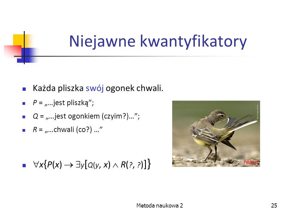 Metoda naukowa 225 Niejawne kwantyfikatory Każda pliszka swój ogonek chwali. P = …jest pliszką; Q = …jest ogonkiem (czyim?)…; R = …chwali (co?) … x {