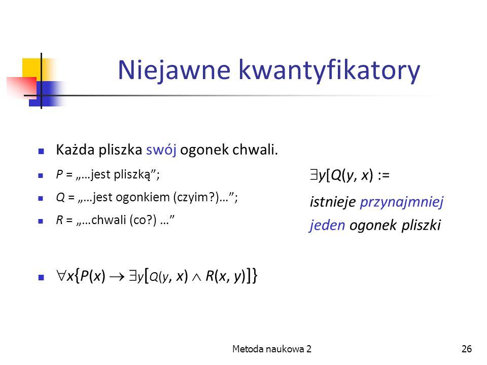 Metoda naukowa 226 Niejawne kwantyfikatory Każda pliszka swój ogonek chwali. P = …jest pliszką; Q = …jest ogonkiem (czyim?)…; R = …chwali (co?) … x {