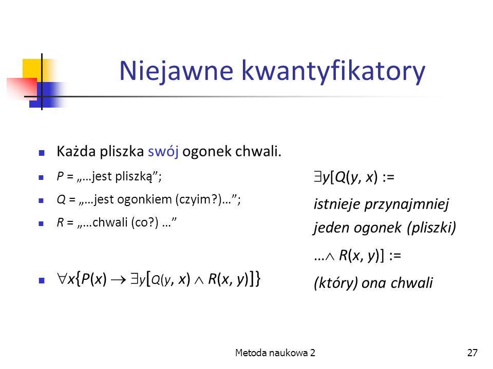 Metoda naukowa 227 Niejawne kwantyfikatory Każda pliszka swój ogonek chwali. P = …jest pliszką; Q = …jest ogonkiem (czyim?)…; R = …chwali (co?) … x {