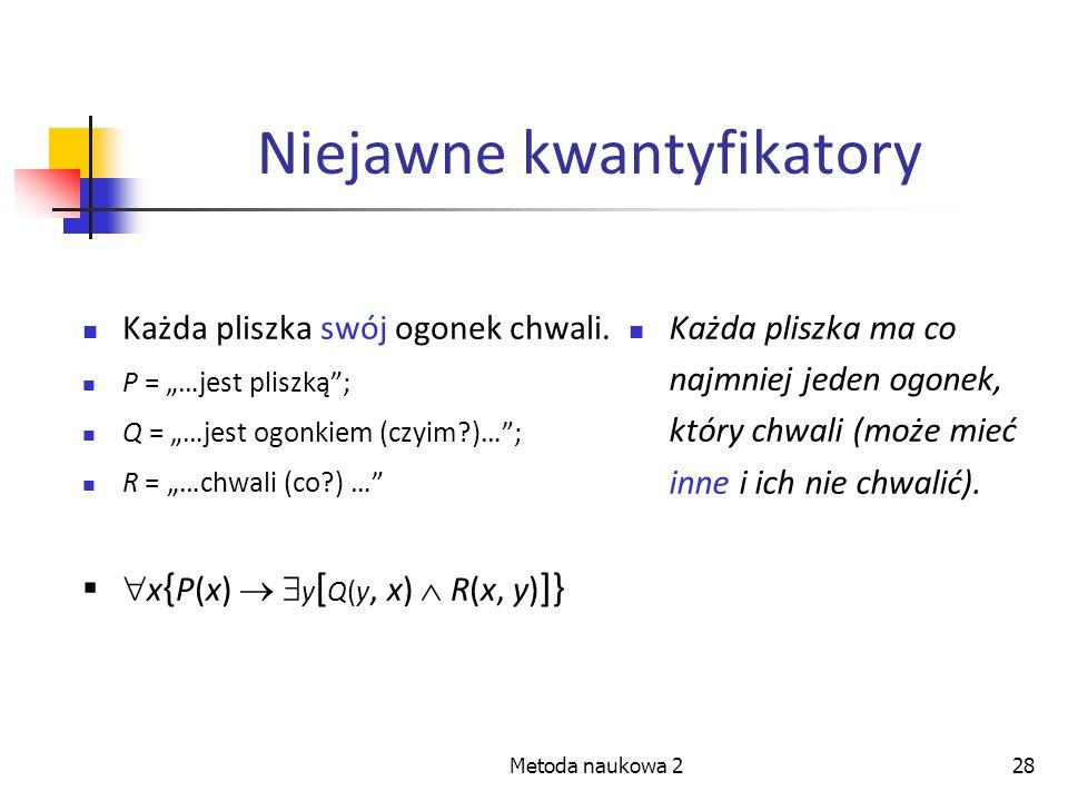 Metoda naukowa 228 Niejawne kwantyfikatory Każda pliszka swój ogonek chwali. P = …jest pliszką; Q = …jest ogonkiem (czyim?)…; R = …chwali (co?) … x {