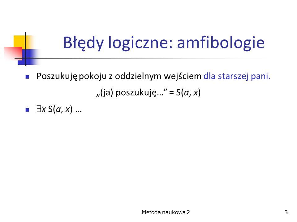Metoda naukowa 23 Błędy logiczne: amfibologie Poszukuję pokoju z oddzielnym wejściem dla starszej pani. (ja) poszukuję… = S(a, x) x S(a, x) …