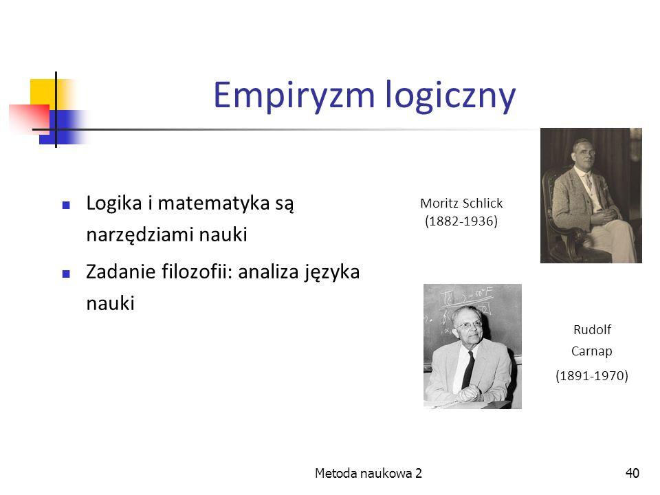 Metoda naukowa 240 Empiryzm logiczny Logika i matematyka są narzędziami nauki Zadanie filozofii: analiza języka nauki Moritz Schlick (1882-1936) Rudol