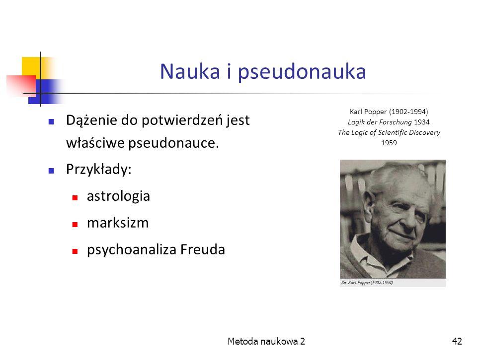 Metoda naukowa 242 Nauka i pseudonauka Dążenie do potwierdzeń jest właściwe pseudonauce. Przykłady: astrologia marksizm psychoanaliza Freuda Karl Popp