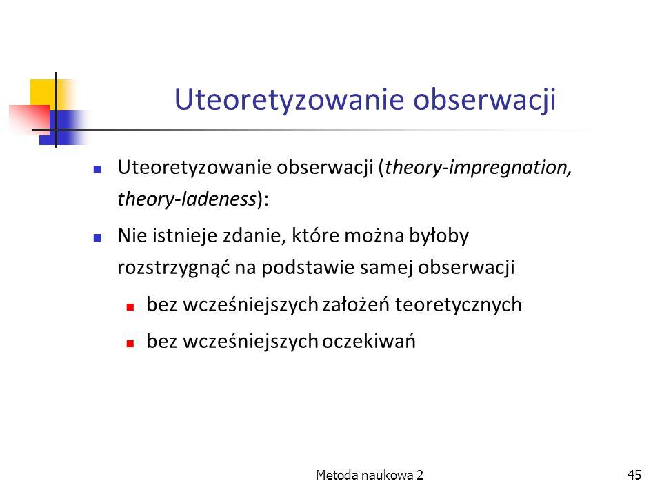 Metoda naukowa 245 Uteoretyzowanie obserwacji Uteoretyzowanie obserwacji (theory-impregnation, theory-ladeness): Nie istnieje zdanie, które można było