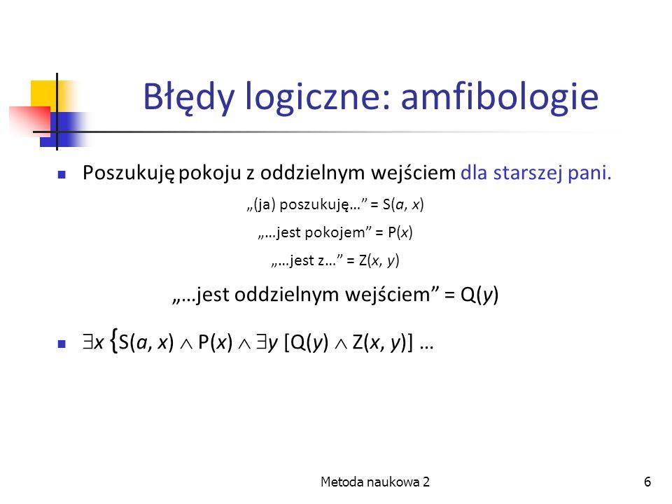 Metoda naukowa 26 Błędy logiczne: amfibologie Poszukuję pokoju z oddzielnym wejściem dla starszej pani. (ja) poszukuję… = S(a, x) …jest pokojem = P(x)