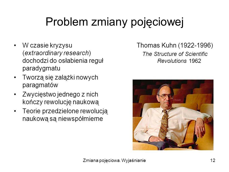 Zmiana pojęciowa. Wyjaśnianie12 Problem zmiany pojęciowej W czasie kryzysu (extraordinary research) dochodzi do osłabienia reguł paradygmatu Tworzą si