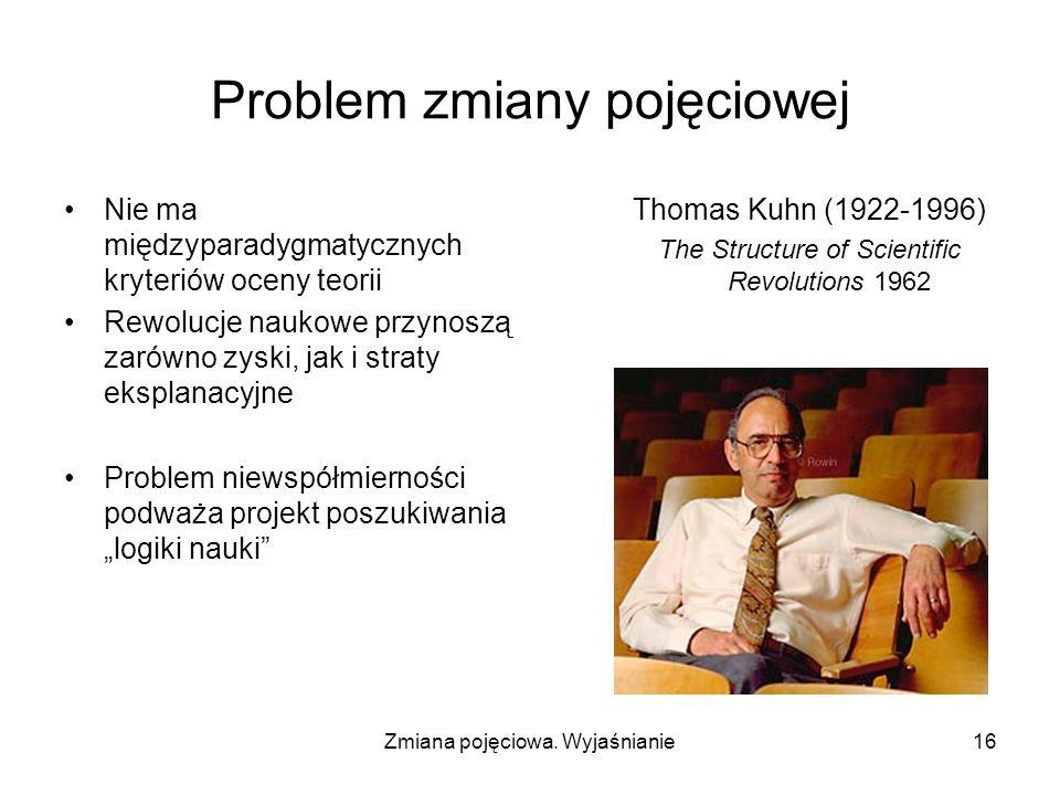 Zmiana pojęciowa. Wyjaśnianie16 Problem zmiany pojęciowej Nie ma międzyparadygmatycznych kryteriów oceny teorii Rewolucje naukowe przynoszą zarówno zy