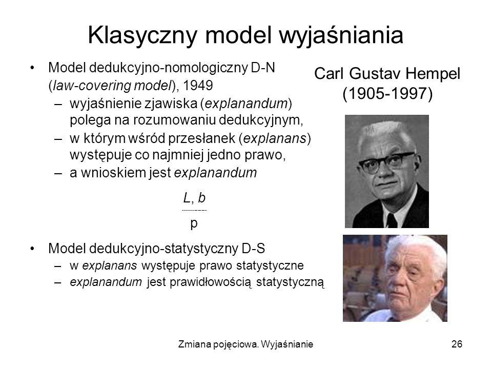 Zmiana pojęciowa. Wyjaśnianie26 Klasyczny model wyjaśniania Model dedukcyjno-nomologiczny D-N (law-covering model), 1949 –wyjaśnienie zjawiska (explan