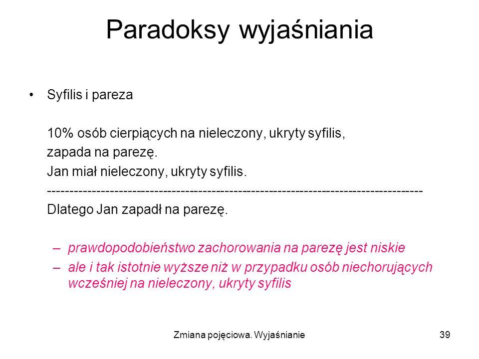 Zmiana pojęciowa. Wyjaśnianie39 Paradoksy wyjaśniania Syfilis i pareza 10% osób cierpiących na nieleczony, ukryty syfilis, zapada na parezę. Jan miał