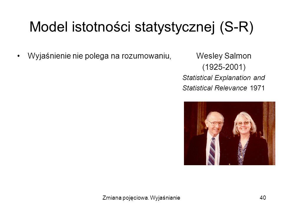 Zmiana pojęciowa. Wyjaśnianie40 Model istotności statystycznej (S-R) Wyjaśnienie nie polega na rozumowaniu, Wesley Salmon (1925-2001) Statistical Expl