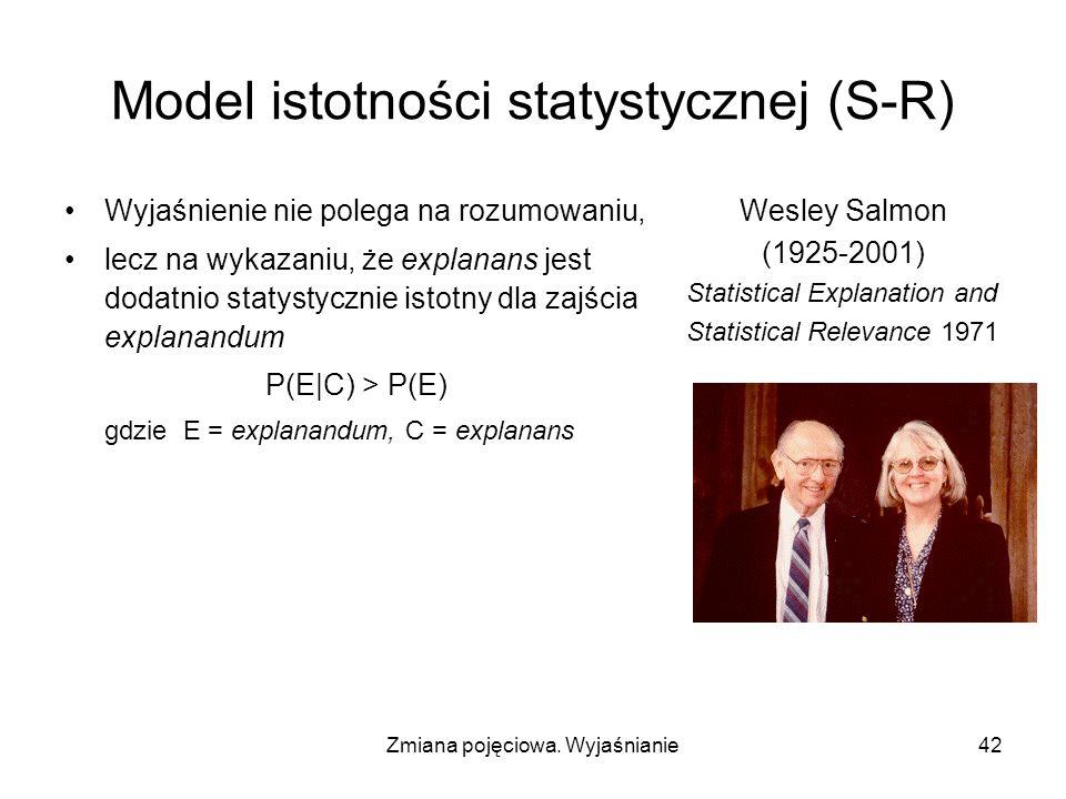 Zmiana pojęciowa. Wyjaśnianie42 Model istotności statystycznej (S-R) Wyjaśnienie nie polega na rozumowaniu, lecz na wykazaniu, że explanans jest dodat