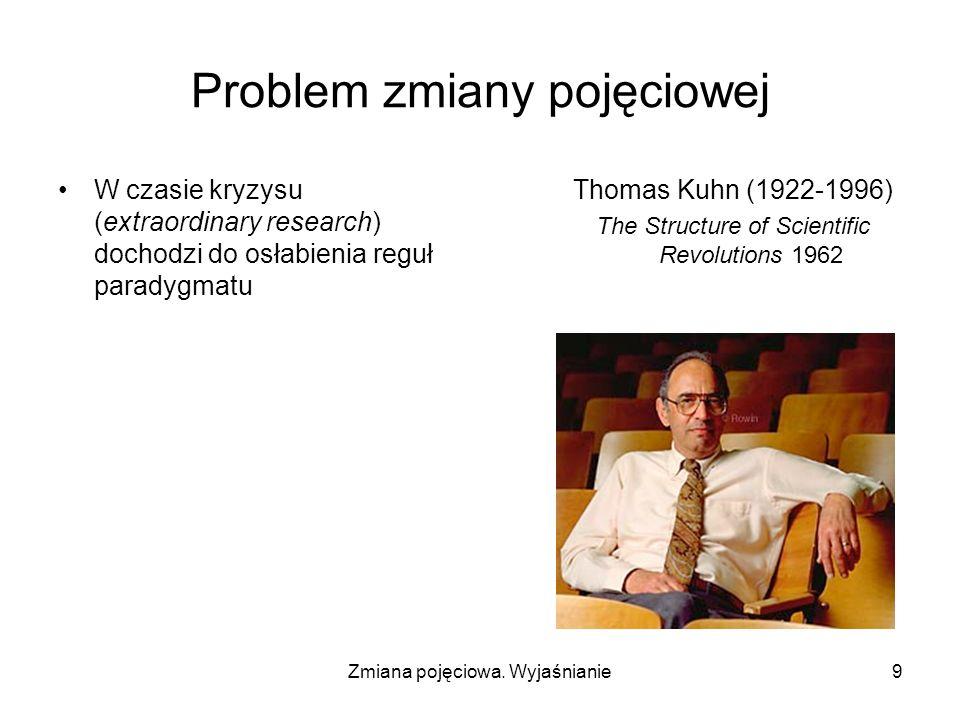 Zmiana pojęciowa. Wyjaśnianie9 Problem zmiany pojęciowej W czasie kryzysu (extraordinary research) dochodzi do osłabienia reguł paradygmatu Thomas Kuh
