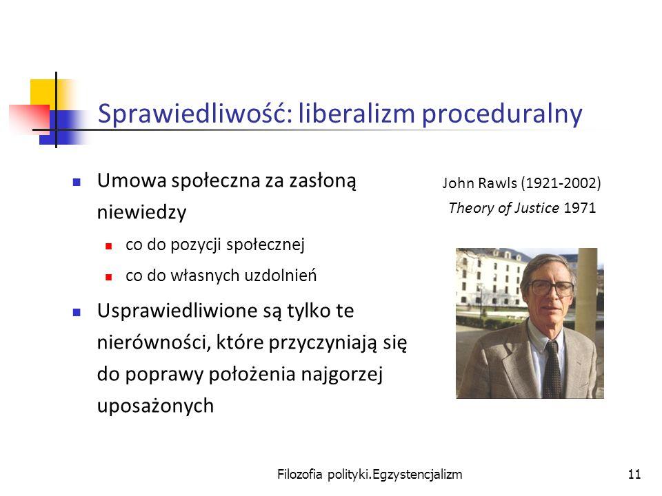 Filozofia polityki.Egzystencjalizm11 Sprawiedliwość: liberalizm proceduralny Umowa społeczna za zasłoną niewiedzy co do pozycji społecznej co do własn
