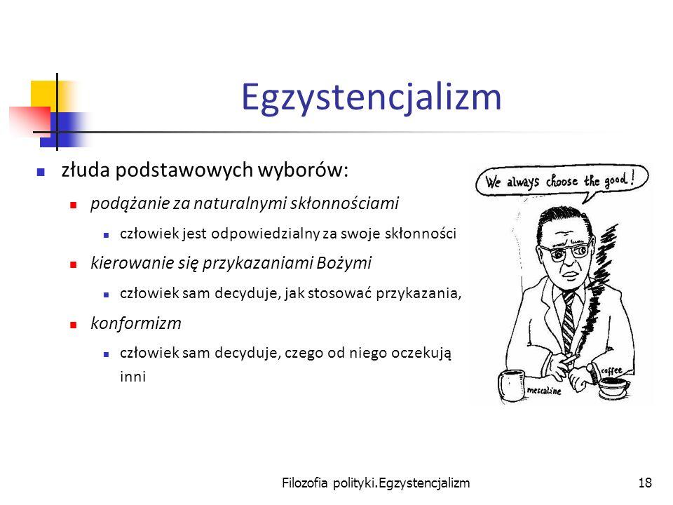Filozofia polityki.Egzystencjalizm18 Egzystencjalizm złuda podstawowych wyborów: podążanie za naturalnymi skłonnościami człowiek jest odpowiedzialny z