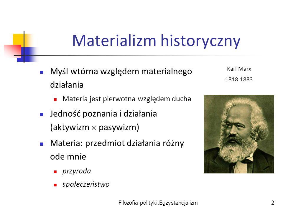 Filozofia polityki.Egzystencjalizm2 Materializm historyczny Myśl wtórna względem materialnego działania Materia jest pierwotna względem ducha Jedność