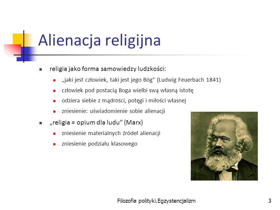 Filozofia polityki.Egzystencjalizm3 Alienacja religijna religia jako forma samowiedzy ludzkości: jaki jest człowiek, taki jest jego Bóg (Ludwig Feuerb