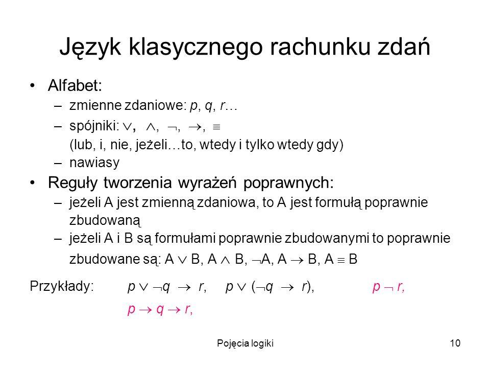 Pojęcia logiki10 Język klasycznego rachunku zdań Alfabet: –zmienne zdaniowe: p, q, r… –spójniki:,,,, (lub, i, nie, jeżeli…to, wtedy i tylko wtedy gdy)