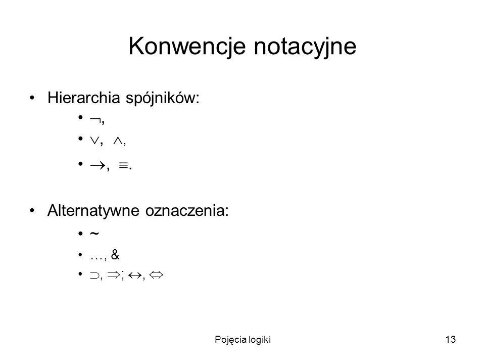 Pojęcia logiki13 Konwencje notacyjne Hierarchia spójników:,,,,. Alternatywne oznaczenia: ~ …, &, ;,