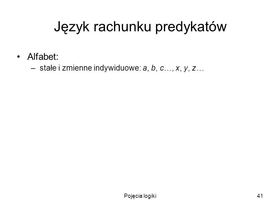 Pojęcia logiki41 Język rachunku predykatów Alfabet: –stałe i zmienne indywiduowe: a, b, c…, x, y, z…