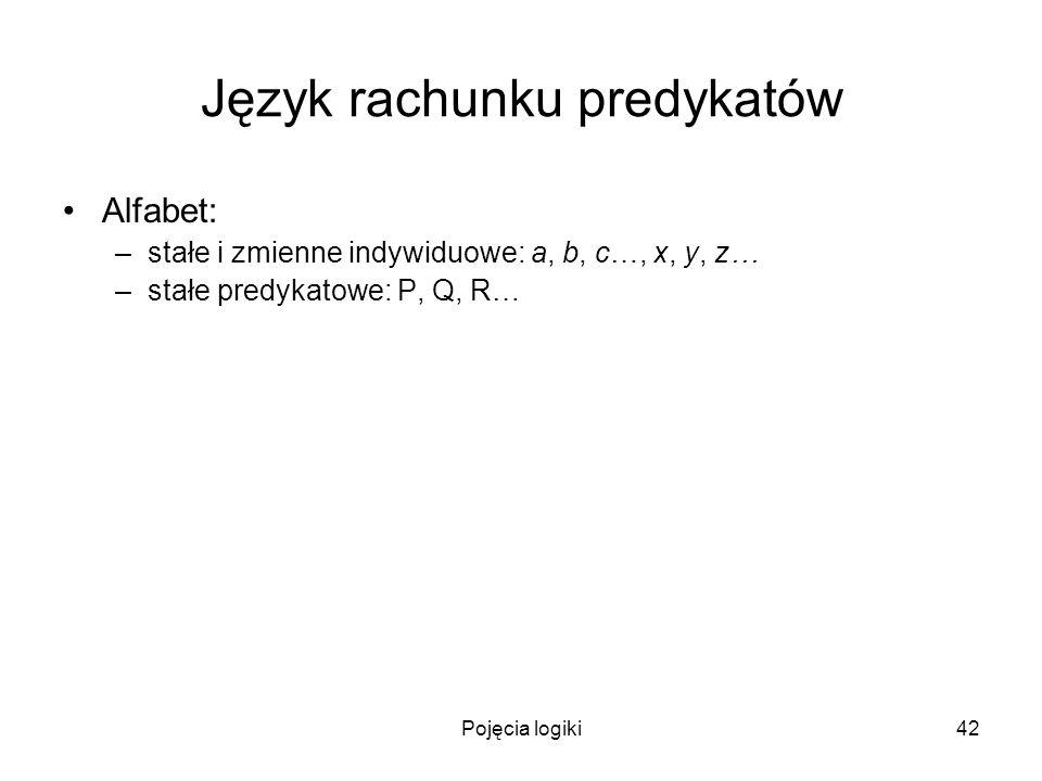 Pojęcia logiki42 Język rachunku predykatów Alfabet: –stałe i zmienne indywiduowe: a, b, c…, x, y, z… –stałe predykatowe: P, Q, R…