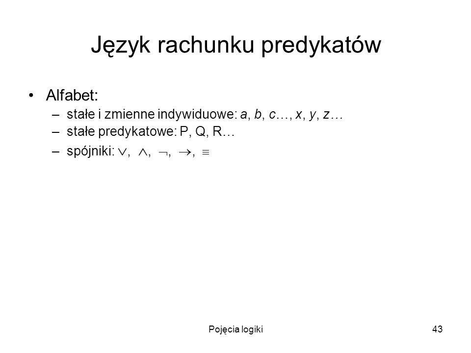 Pojęcia logiki43 Język rachunku predykatów Alfabet: –stałe i zmienne indywiduowe: a, b, c…, x, y, z… –stałe predykatowe: P, Q, R… –spójniki:,,,,